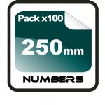 25cm (250mm) Race Numbers - 100 pack